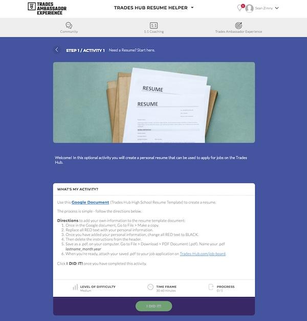 New Resume Activity Screenshot